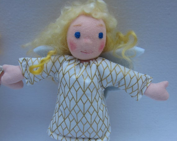 Angel doll Angie Guardian Angel, with golden Lambs Locks as hair, white gold dress, felt wings, Waldorf inspired,