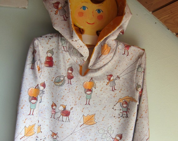 Autumn Baby Jersey Pullover with Hood, elves with conckers, kites,  apples, leaves, Hoody with Bio Jersey in fall colors. 3T (EU 92)