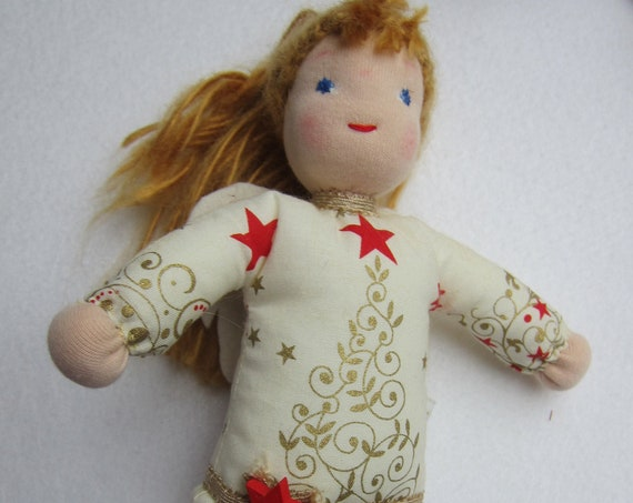 Guardian Angel's Doll, Celestine Christmas Angel, Gold angel, 9.5 inches, Waldorf, Christmas, baptism, baby shower, Stocking Stuffer
