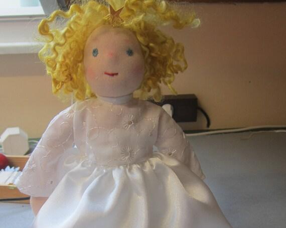 "Christmas Treetop Angel, Christmas Angel,  Agnetha, OOAK, Waldorf inspired, collectors's doll collectible art doll, Christmas 12.5"""