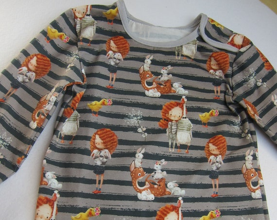 """Cute organic T-shirt long arm  """"Me and my goose"""", Size US 2,  92 Winter"""