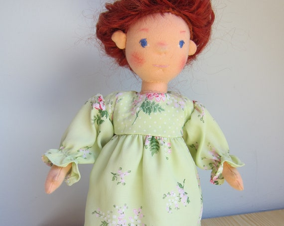 Soft fiber Doll, Coco with lovely red locks, doll 12 in, Waldorf inspired, with movable arms and legs,