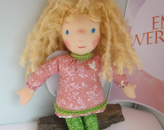 Guardian Angel doll, Angel Doll, Lotte, with dove dress Waldorf style, Handsewn, Made in Germany, Christmas, Baptism, Babyshower rag doll