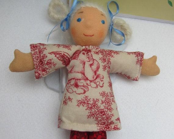 Angel doll Finella Guardian Angel, with golden Lambs Locks as hair, creme Scripture textsdress, felt wings, Waldorf inspired,