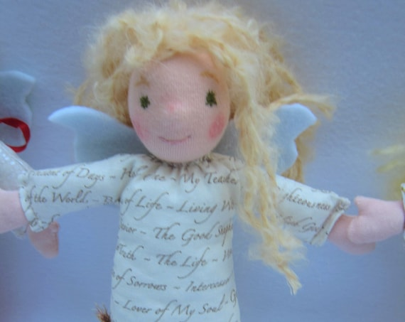 Angel doll Gloria Guardian Angel, with golden Lambs Locks as hair, creme Scripture textsdress, felt wings, Waldorf inspired,