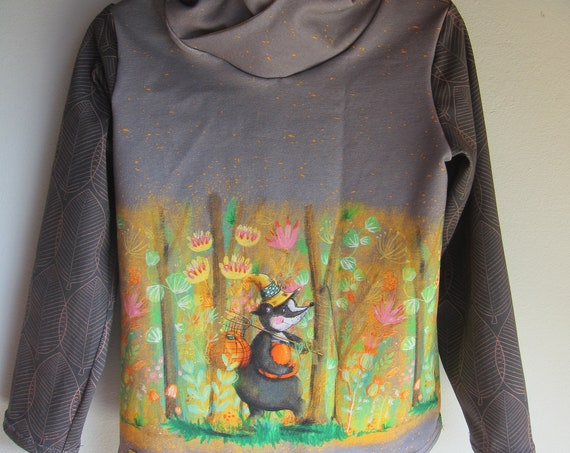 Autumn French-Terry Pullover with Hood, Badger with Halloween Pumpkin with Bio Jersey in fall colors. 4-5 (EU 104)
