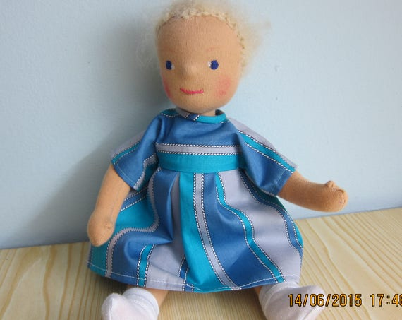 "Sommer soft doll Marion at the see, Marine inspired Sommer doll,  Waldorf inspired 14"", movable limbs, OOAK"