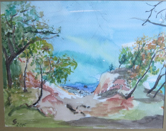 Watercolor painting, Germany's Northcoast, Original romantic Landscape