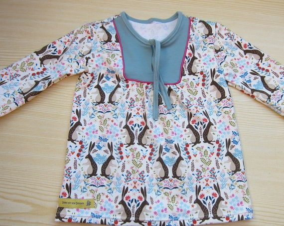 Rabbit tunica for Girls US size 12 mo Size 80, organic  jersey top for Ostern