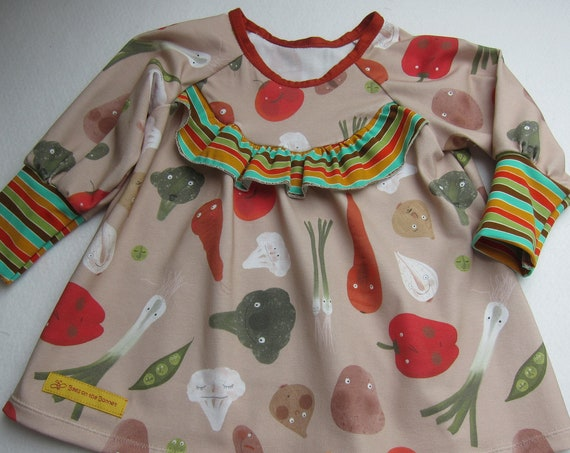 Girl's jersey tunica, Happy Veggies US size 9 mo, girl's Spring tunica