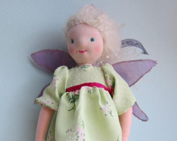 Morgan fairy, magical forest fairy, fairy doll with meadow dress, 10 3/4 inches, Fay, pixie, OOAK