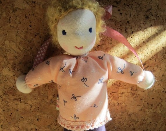 Small fabric pixie soft doll called Dawn, 9 1/2 inches, OOAK, Waldorf inspired, collector's doll