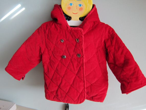 Hooded red Cord Jacket with stars lining, Original Handmade Parka, Coat for Boys and Girls size US 12-18 mo Winter, Fall