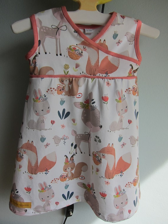 Ecological toddler's Jersey woodland charm dress with squirrels,  deer and rabbits, size 6-9 mo, 68-74 Eur