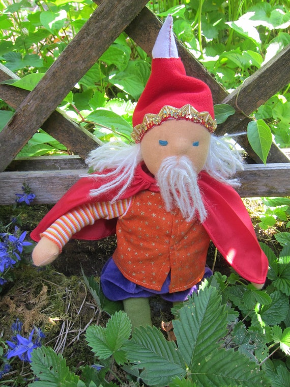 Soft doll, Oberon the king of Elves doll in Waldorf style (16 inches)  OOAK, King doll, Dwarf King Forest KIng