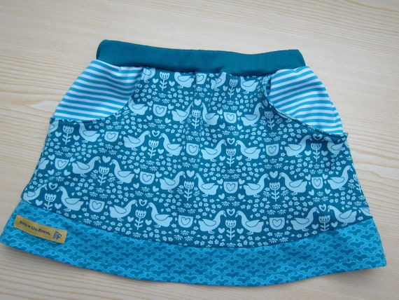 Baby girl  jersey skirt, summer skirt, skirt, folklore geese patterned skirt, size 5 (Eur 104)