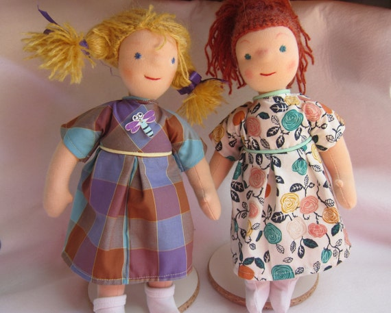Twin dolls called Hanna and Klara for twin sisters and cousins inspired  Waldorf.
