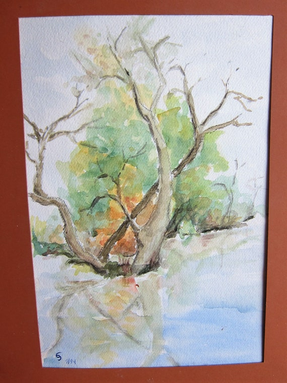 Aquarell painting, Reflecting Flaming Bush in Water 9 x 12 inches
