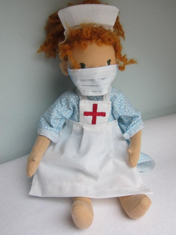 Super Hero nurse doll Ginger, Nurse, Waldorf style, 15.5 inches, 40 cm