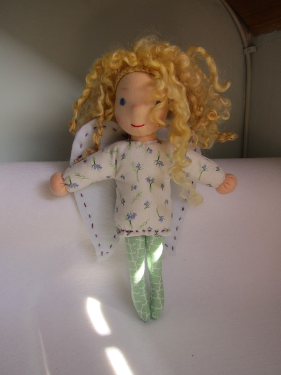 Guardian Angel lilac fabric doll, Angel doll  Anna, handmade, Christmas, baptism, baby shower, Get-well doll, Waldorf 10.5 in