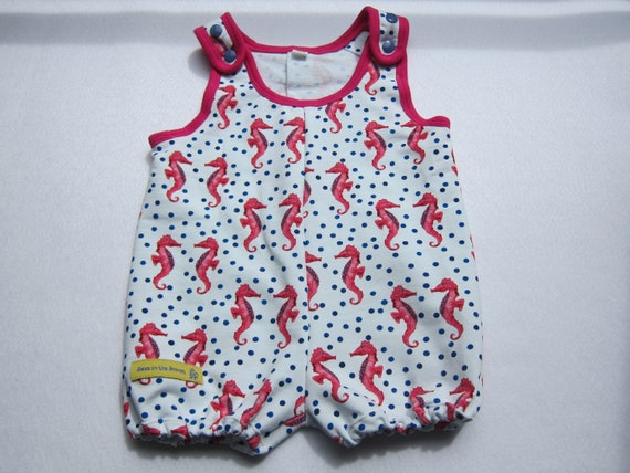 Seefair Summer Rompers, Sunsuit, Baby Body pink Seehorses organic Jersey size: 9-12 Mo.