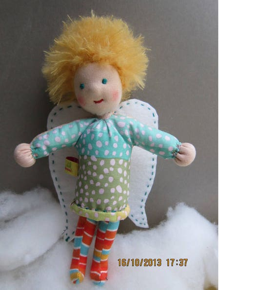 Guardian Angel Michael doll (10 inches) OOAK, Handmade soft, Get-well, Baptism, Christmas, Baby shower, Stocking Stuffer