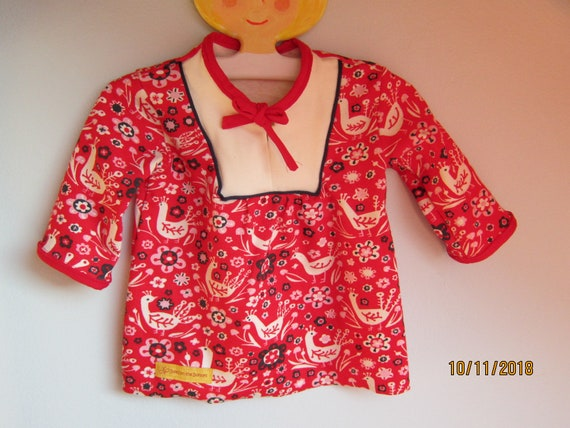 Red peacock tunica for Girls US size 6-9 mo Size 62, organic jersey dress for Christmas