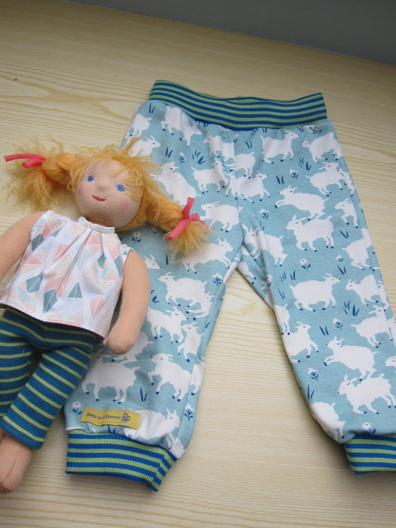Counting Sheep cuffed pants, Baby pants sheep motive,  Lambs in Spring, Easter size 12 mo, counting sheep pants