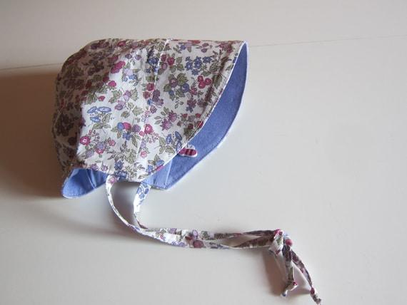 Baby Millefleurs lavender sun bonnet,  Bee on the Bonnet , Child's Sunhat Sz 0-3 Mo