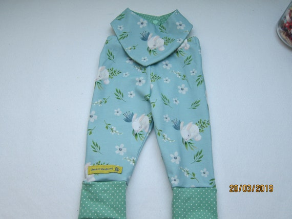 Bunny hop Baby Bloomers  ecopants with reversible bib set  Made to order Bunnies