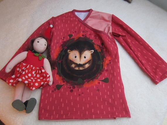 Organic baby long sleeved Tee, sweet hedgehog in red, t- shirt in wrap optic, ORGANIC newborn long sleeve- organic infant Size 2-3