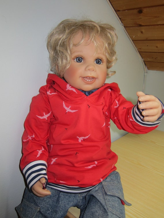 Seeside Baby  Sweatshirt with Hood, See gull Hoody with Bio Jersey, red, marine blue / cream striped. Made to order