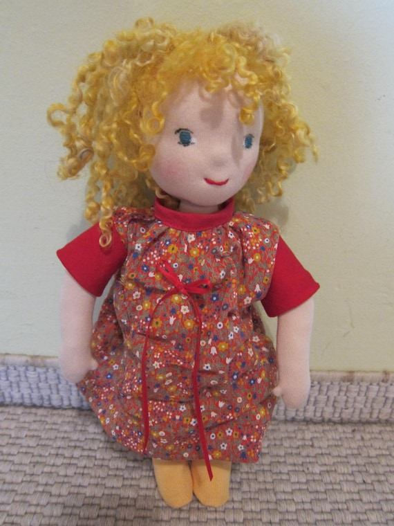 Goldy Locks doll, Cecilia in Waldorfstyle, fabric doll, OOAK, 13 inches, Soft doll,