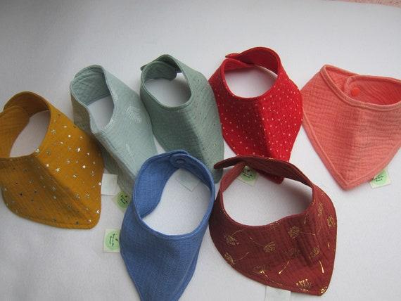 Drooling Baby Bib eco muselin scarf Baby Scarf, rainbow colors, Baby Bandana, Triangle scarf