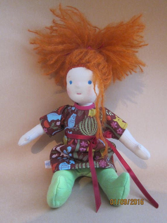 Soft fabric doll with red hair, Willow with lovely  Forest dress, green stockings,  Waldorf inspired, 12 in, ecological, Red headed doll