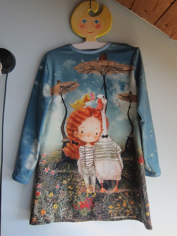 Longarm organic designer's dress with a girl with dear, goose and rabbit for Girls US size 5-6, Size 110 Fall dress, Tunica