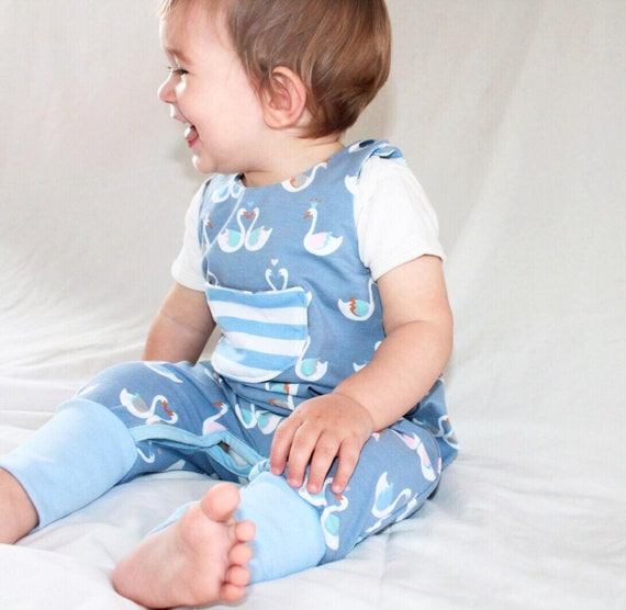 Gray or blue Crowned Swans Rompers, Jumpsuit,  Eco Jersey 6-9 months