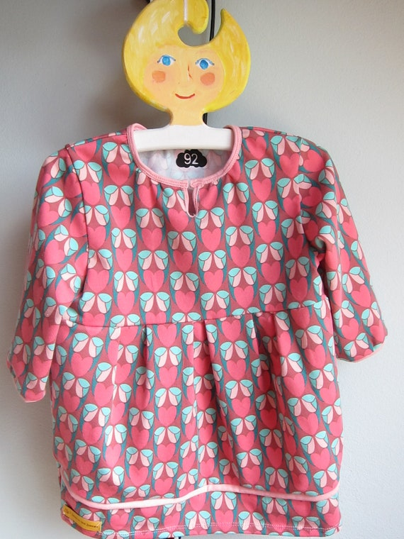 Longarm baby tunica with pink hearts jersey dress, Tunica to order size