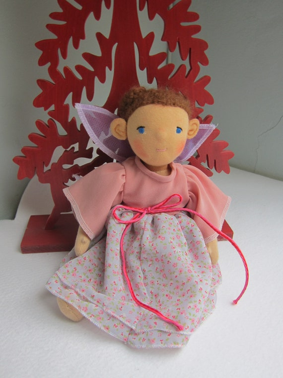 "Fairy doll, collectible art doll, Larissa, Waldorf inspired, lilac organza wings,organza dress, braided brown hair, 12 "" tall"