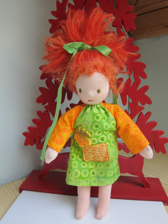 Pixie doll with copper hair, Erin Montesorie, Artist's doll, 9 1/2 inches, Waldorf inspired