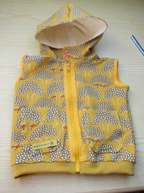 Toddler's Sleeveless Hoodie Vest in mustard yellow organic sweat shirt  and hoodie in size 74cm / 9-12 mo
