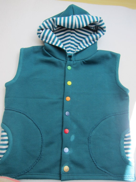 Toddler's Sleeveless Hooded Vest in Petrol organic cotton jersey with petrol stripes and hood in size 92cm / 2T