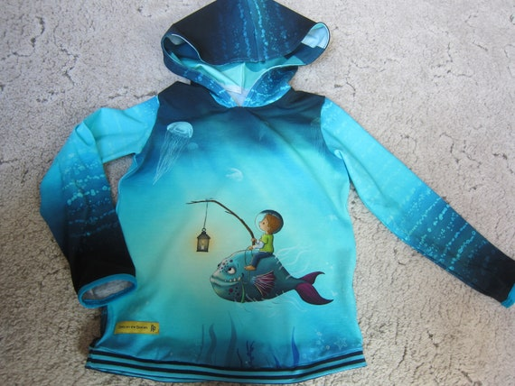 One-of-a-Kind Baby Jersey Pullover with Hood, Boy with latern in the deep see US size 6 (EU 116)