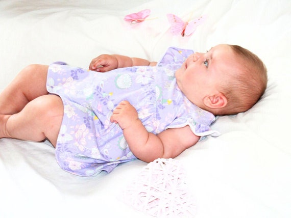 Baby's Spring lilac jersey dress  with fairies and flowers,  US size 1T, girl's tunica
