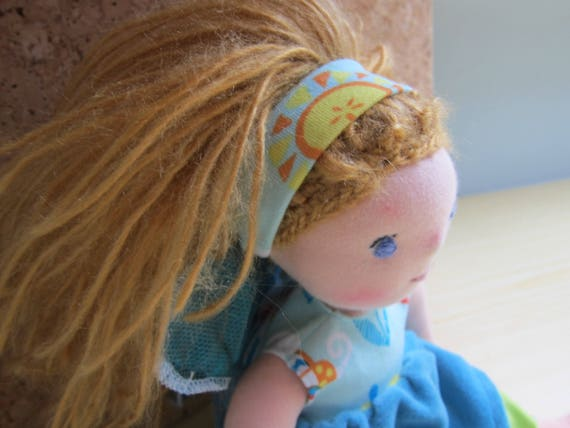 Fairy doll doll  called Arielle, Waldorf inspired  organza wings  blue dress  blond hair,
