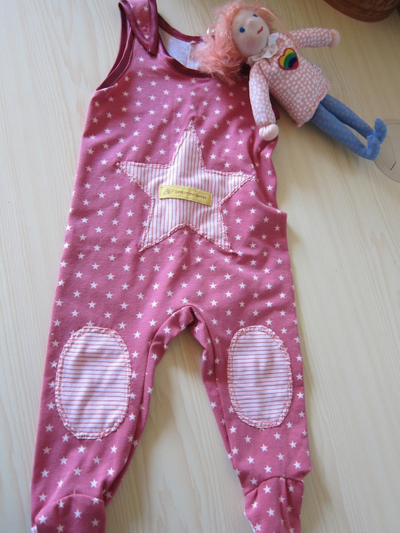 Pink or blue Stars Rompers, Jumpsuit,  Footies, Eco Jersey 6-9 months