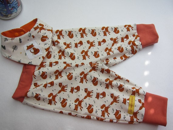 Baby Pants and bib with foxes in creme and terracotta size 3-6 mo Europeanb Size 68 or to order