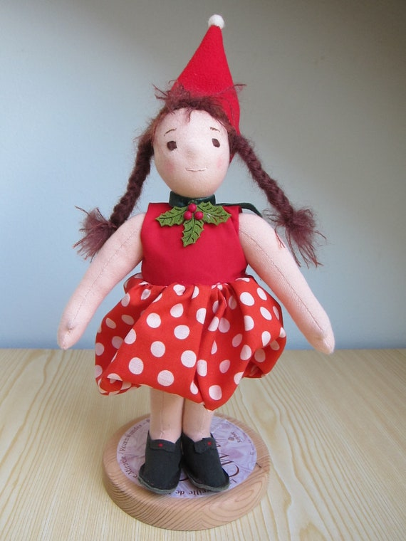 Soft Fabric Doll, Baby Doll Kiki the strawberry girl, Waldorf inspired, Soft doll OOAK