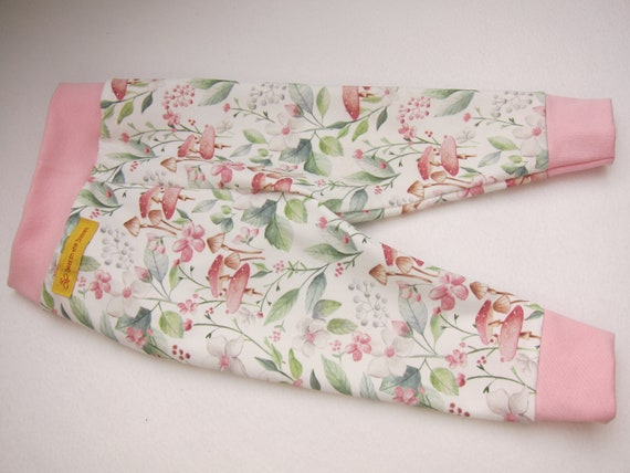 Ecological baby pants with Spring leaves, blossums and mushrooms leggings, in 3-6mo