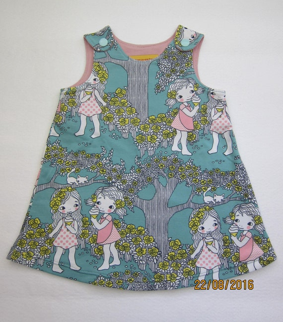 Girl's Summer Eiscreme turquoise summer dress  Made to Order: Sizes 0 mo to 24 mo.